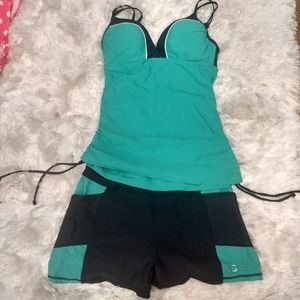 NWOT Free Country teal/ grey tankini swimsuit